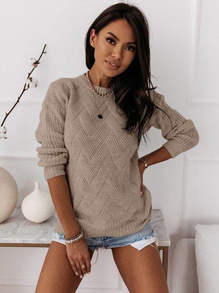 Sweter z ozdobnym splotem DAGIE - beżowy