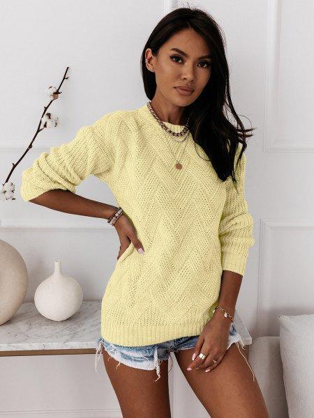 Sweter z ozdobnym splotem DAGIE - cytrynowy
