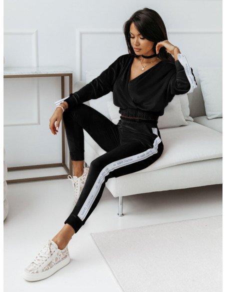 Welurowy dres spodnie + bluza VELVET - czarny