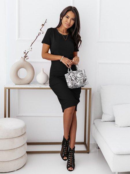 Dopasowana sukienka midi NEVES - czerń