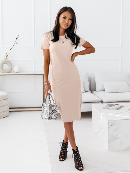 Dopasowana sukienka midi NEVES - nude