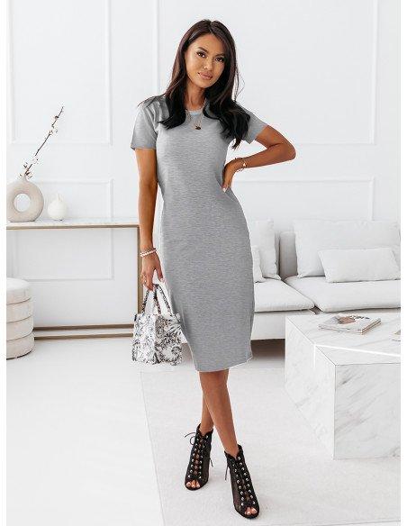 Dopasowana sukienka midi NEVES - szary melanż