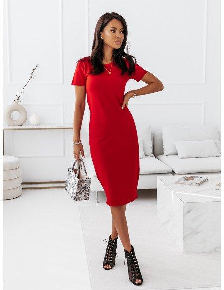 Dopasowana sukienka midi NEVES - czerwony