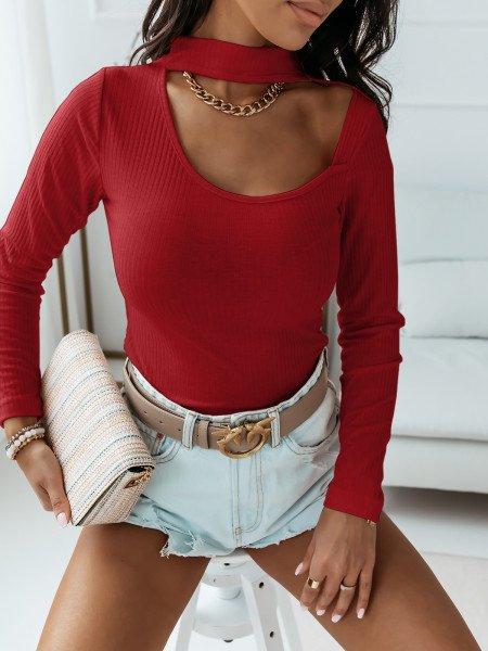 Prążkowana bluzka z chokerem POSH - czerwona