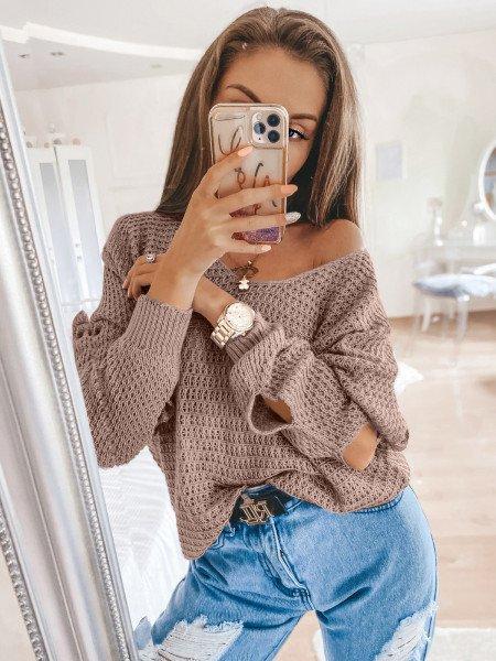 Pleciony sweter z rozcięciami ASHLEY - latte