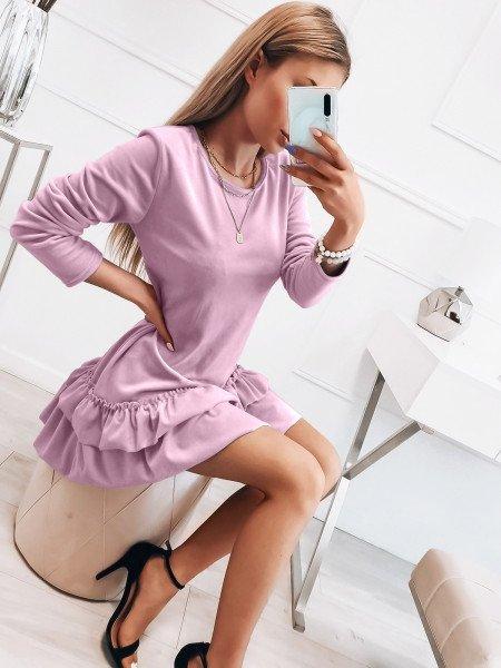 Welurowa sukienka z falbanami - KESJA - liliowa