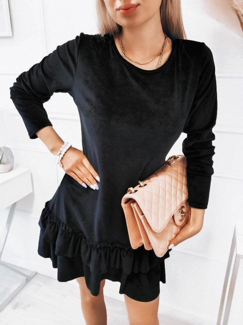 Welurowa sukienka z falbanami - KESJA - czarna