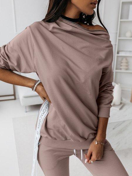 Komplet dresowy spodnie + bluza ZIPPER - beżowy