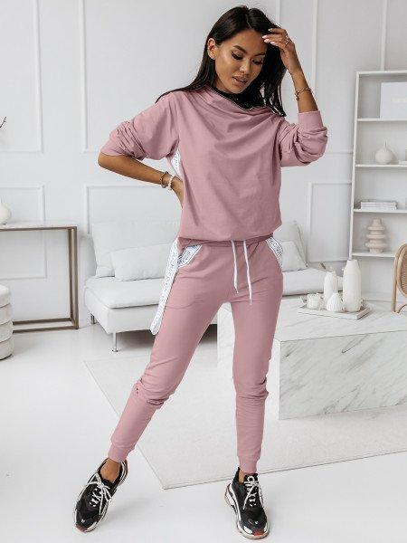 Komplet dresowy spodnie + bluza ZIPPER - brudny róż