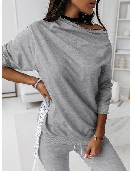 Komplet dresowy spodnie + bluza ZIPPER - szary melanż