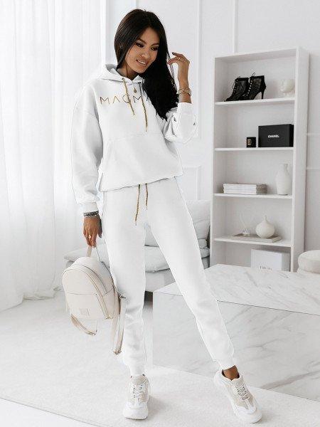 Komplet dresowy spodnie + bluza COLOUR - biały