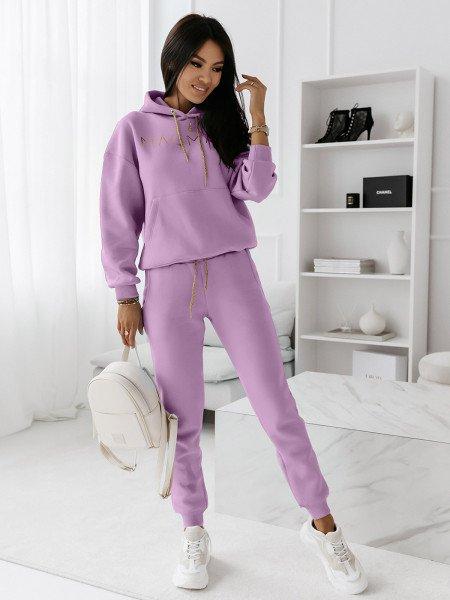 Komplet dresowy spodnie + bluza COLOUR - liliowy