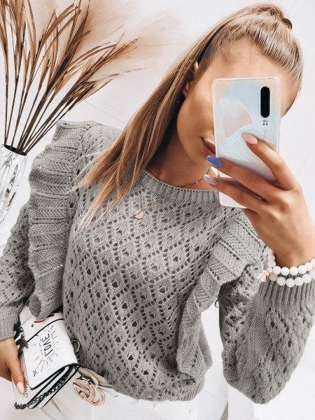 Ażurowy sweter z falbanami - GRACJA - szary