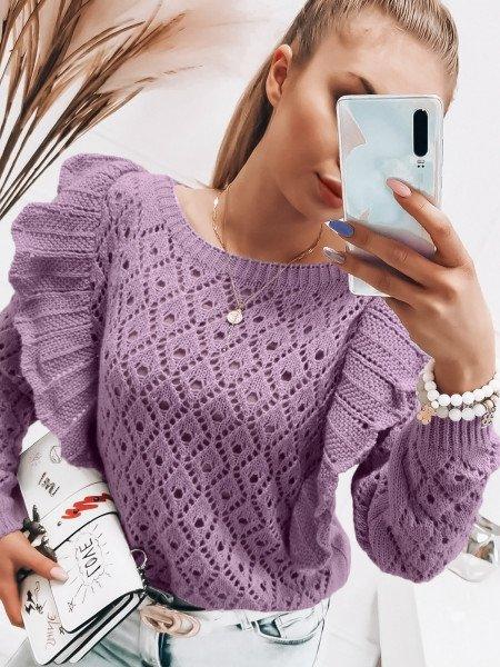 Ażurowy sweter z falbanami - GRACJA - liliowy