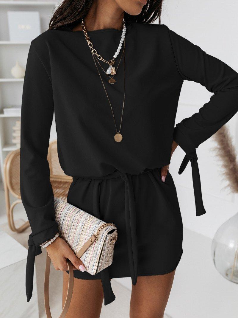 Sukienka wiązana w pasie SALMA - czarny