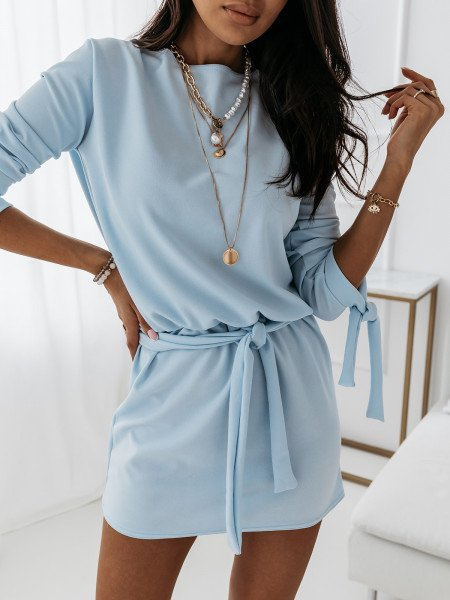 Sukienka wiązana w pasie SALMA - błękitna