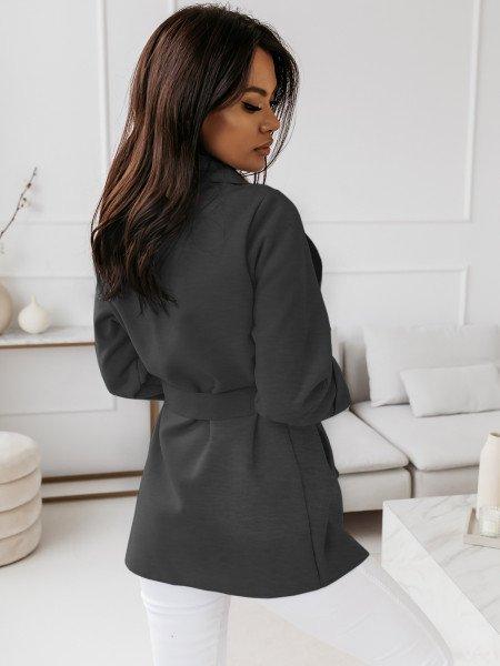 Flauszowy płaszcz wiązany -...