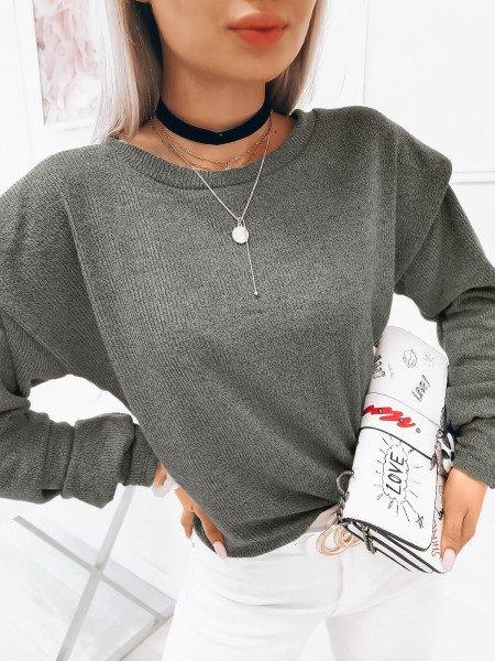 Dzianinowa bluzka z poduszkami - TORI - szary