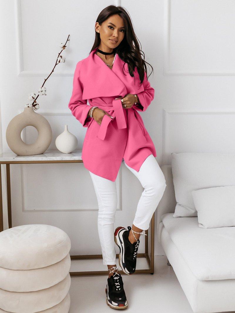 Flauszowy płaszcz wiązany - SPRING -...