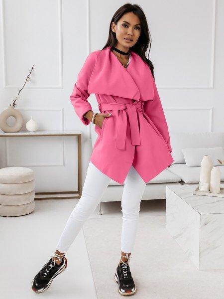 Flauszowy płaszcz wiązany - SPRING - różowy
