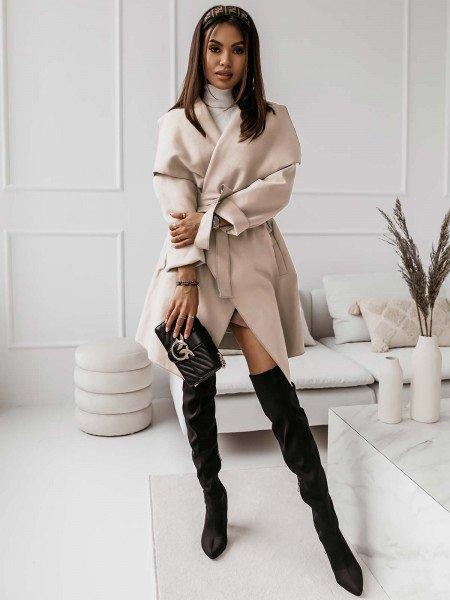 Flauszowy płaszcz CAMILLE - ecru