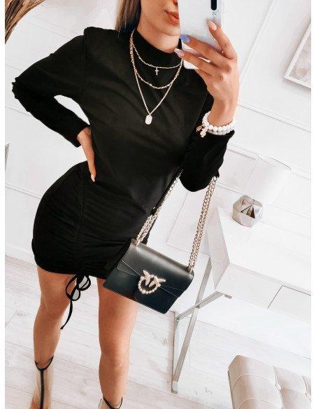 Zamszowa sukienka z marszczeniem - ALINA - czarna