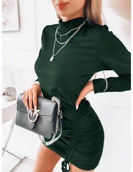 Zamszowa sukienka z marszczeniem - ALINA - butelkowa zieleń