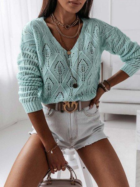 Ażurowy sweterek YASMINNE - miętowy