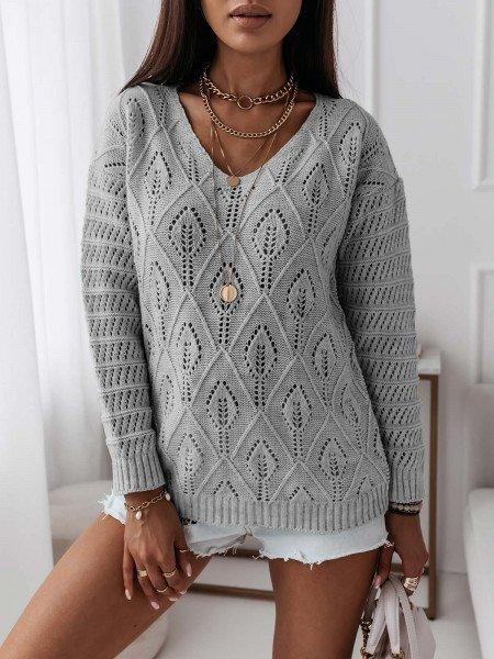 Ażurowy sweterek YASMINNE - szary