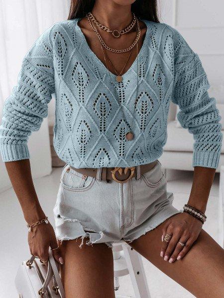 Ażurowy sweterek YASMINNE -  błękitny