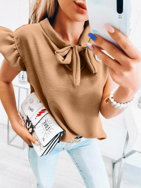 Oversizowa bluzka z wiązaniem pod szyją - LEONIA - beżowa