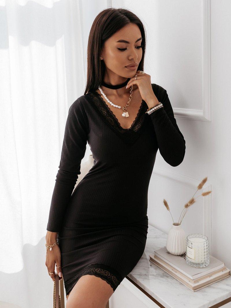 Sukienka prążkowana PALOMA - czarna