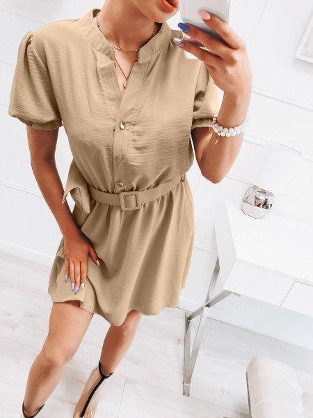 Sukienka szmizjerka z nerką - KLOE - beżowa