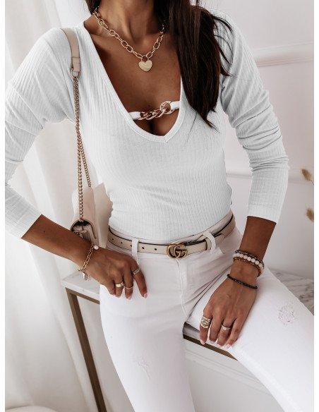 Prążkowana bluzka top z łańcuchem ZUMA - biały