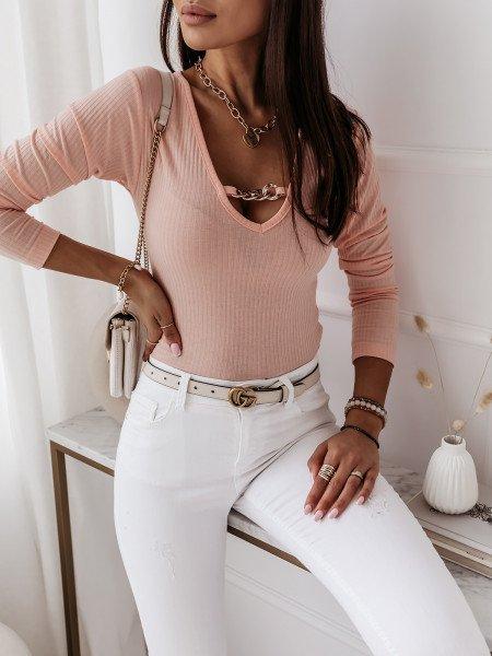 Prążkowana bluzka top z łańcuchem ZUMA - brzoskwiniowa
