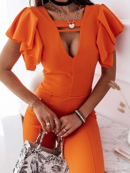 Kombinezon z seksownym dekoltem DELICIOUS - orange