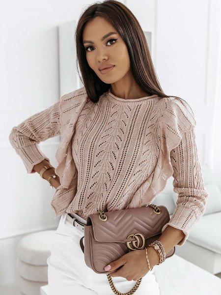 Ażurowy sweter z falbanami PENELOPE - beżowy