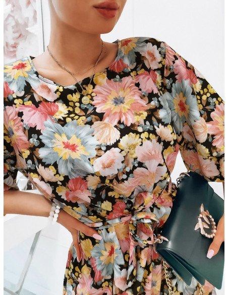 Oversizowa sukienka z paskiem - DAKOTA - wzór 1