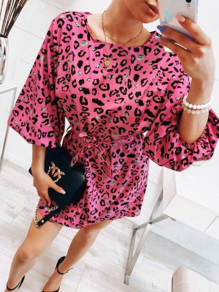 Oversizowa sukienka z paskiem - DAKOTA - wzór 2
