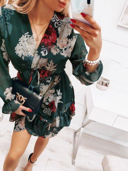 Szyfonowa sukienka z zakładanym dekoltem - KIARA - wzór 4