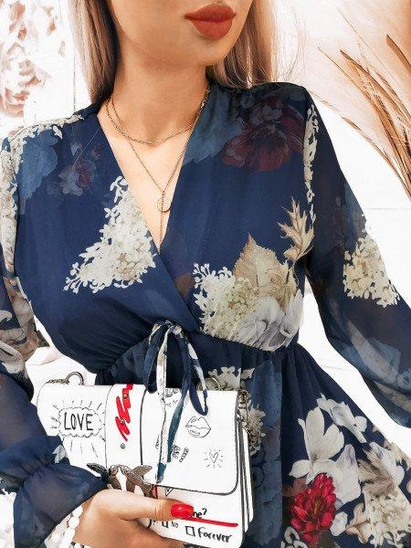 Szyfonowa sukienka z zakładanym dekoltem - KIARA - wzór 5