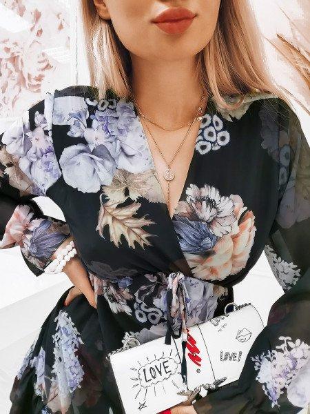 Szyfonowa sukienka z zakładanym dekoltem - KIARA - wzór 6