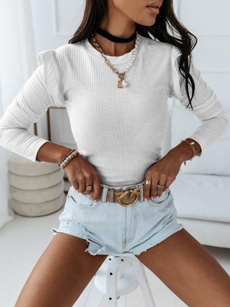 Prążkowana bluzka z falbanką GIRLY - biała