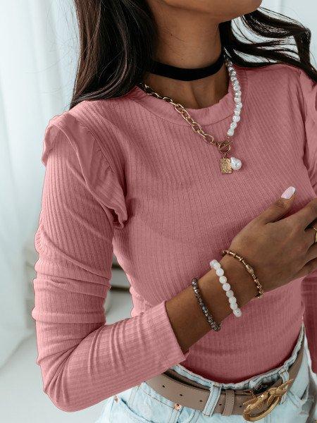 Prążkowana bluzka z falbanką GIRLY - brudny róż