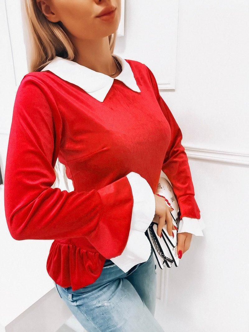 Welurowa bluzka z kołnierzykiem - EURYDYKA - czerwona
