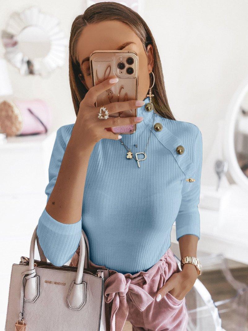 Prążkowana bluzka ze stójką SMOTHIE - błękitny