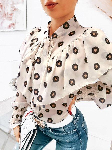 Szyfonowa bluzka w print - POKER - biała