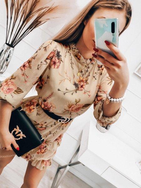 Szyfonowa sukienka z falbanami - ANDREA - beżowa
