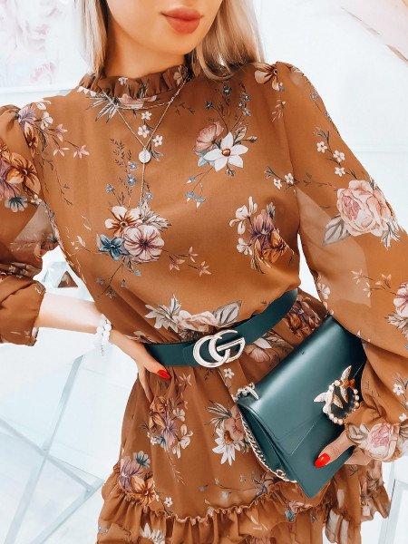 Szyfonowa sukienka z falbanami - ANDREA - karmelowa