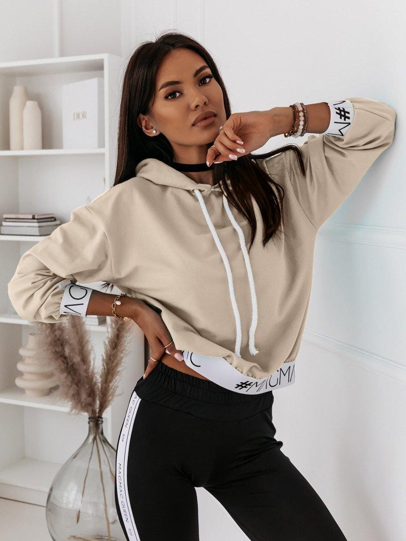 Bluza z kapturem i gumą NINA - jasny beż